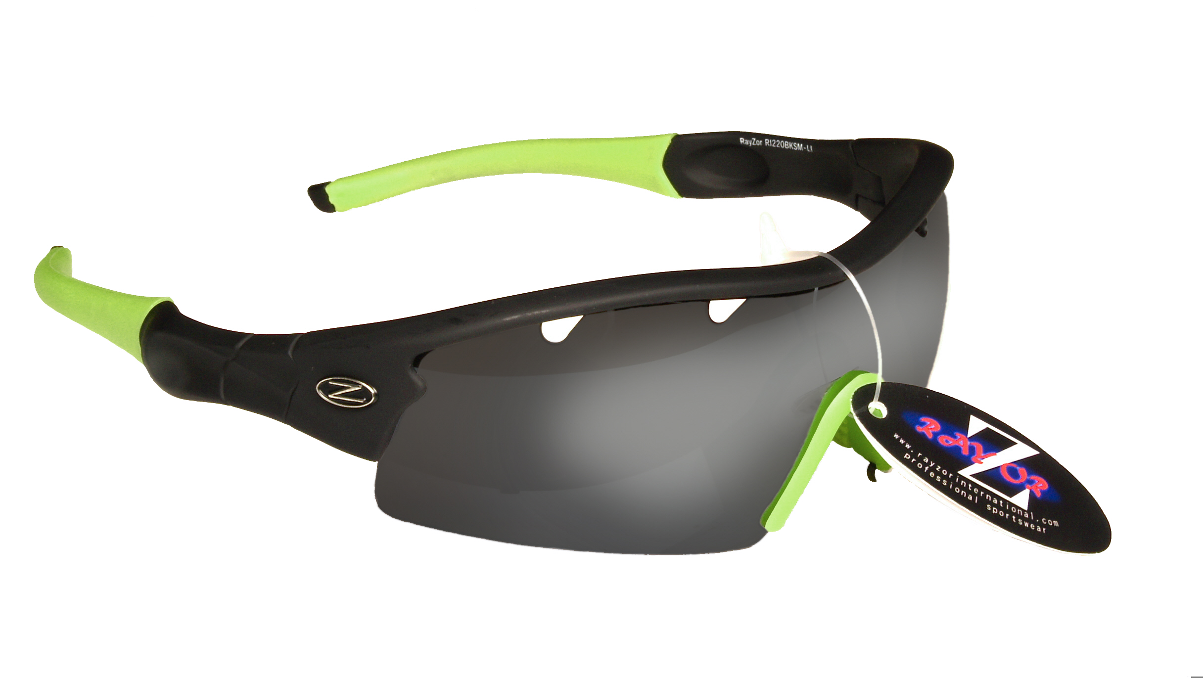 VENTZ:...RAYZOR BLACK FRAMED SPORTS SUNGLASSES WITH A 1 PIECE VENTED SMOKE MIRRORED ANTI GLARE LENS....